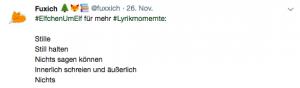 Tweet zum Thema #ElfchenUmElf auf meinem Twitter Feed Fuxxich.
